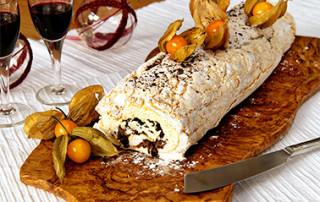 Chocolate and chestnut meringue roulade recipe