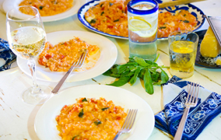 risotto with tomato, mozzarella and basil