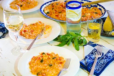 risotto with tomato, mozzarella and basil