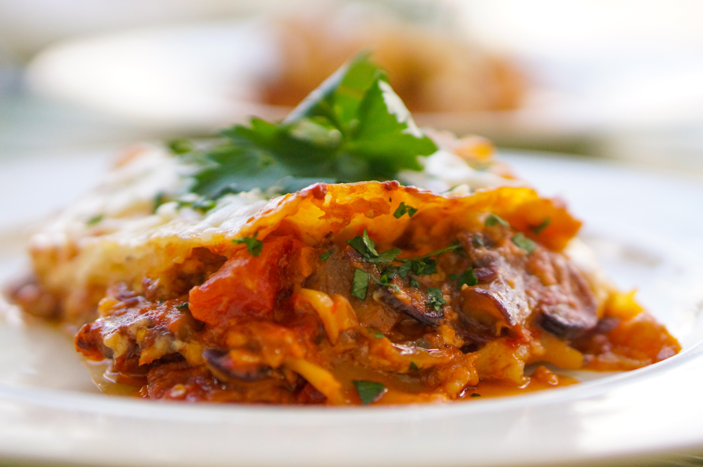 Aubergine and mushroom lasagne