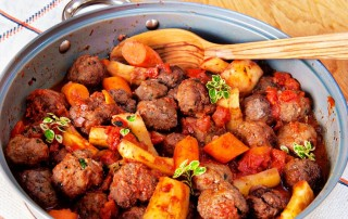 Beef meatballs braised in red wine