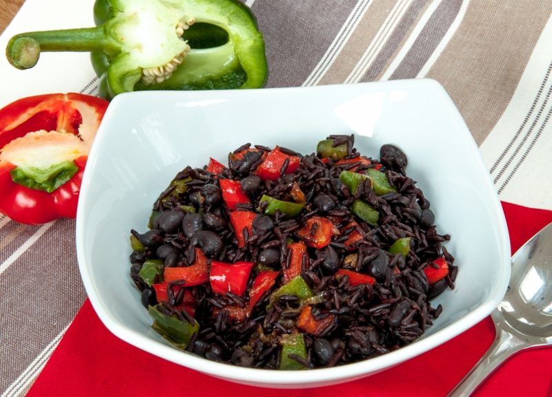 Black rice with mixed peppers