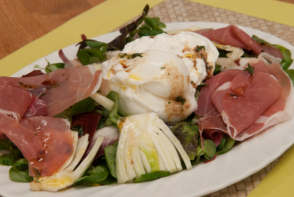 Burrata and Parma ham with mixed leaves recipe