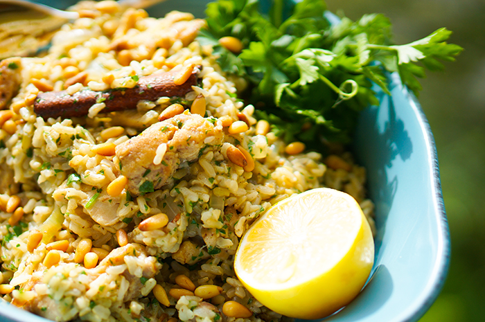 Chicken pilaf with pine nuts