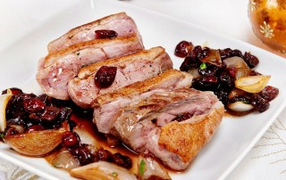 Duck breast with cranberry dressing