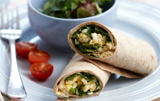 Egg mayo and spinach wrap
