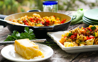 Fusilli with courgettes and mushrooms