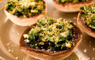 Mushrooms stuffed with walnuts & spinach