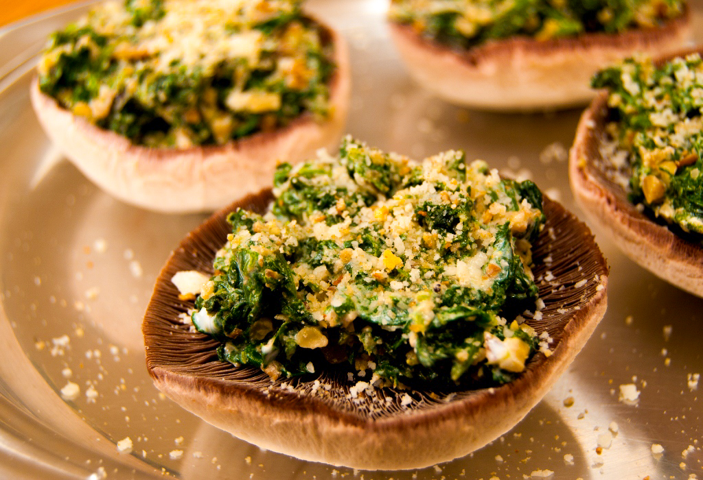 Mushrooms stuffed with walnuts & spinach