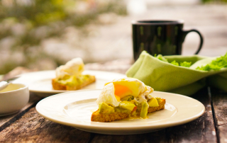Poached Egg on toast avocado spread