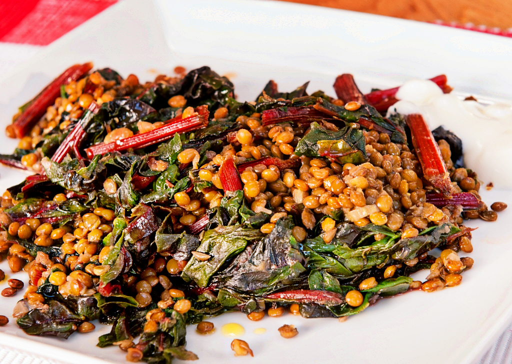 Puy lentils with chard - Lemon Squeezy