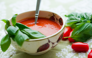 Roasted Cherry Tomato and Basil Soup