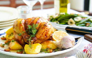 Roast chicken with lemon, garlic and thyme recipe