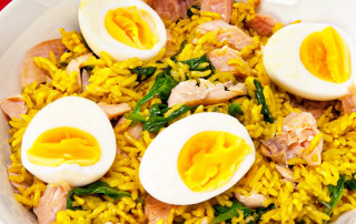 Smocked trout kedgeree