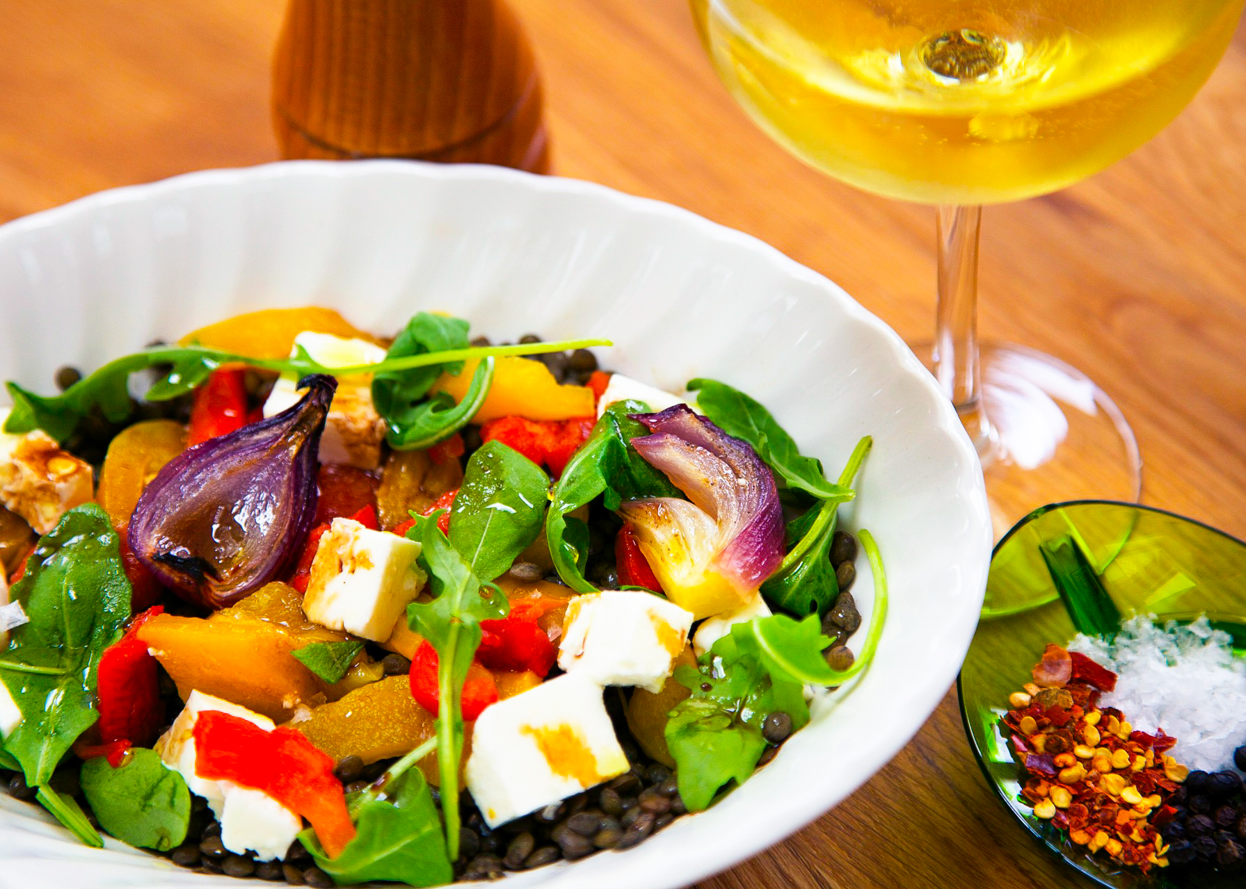 Warm Salad of Lentils and Roasted Peppers
