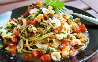 Wholemeal seafood spaghetti recipe
