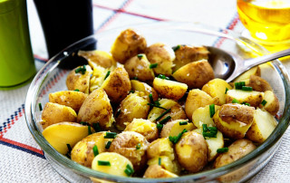 crushed new potatoes with olive oil and chives