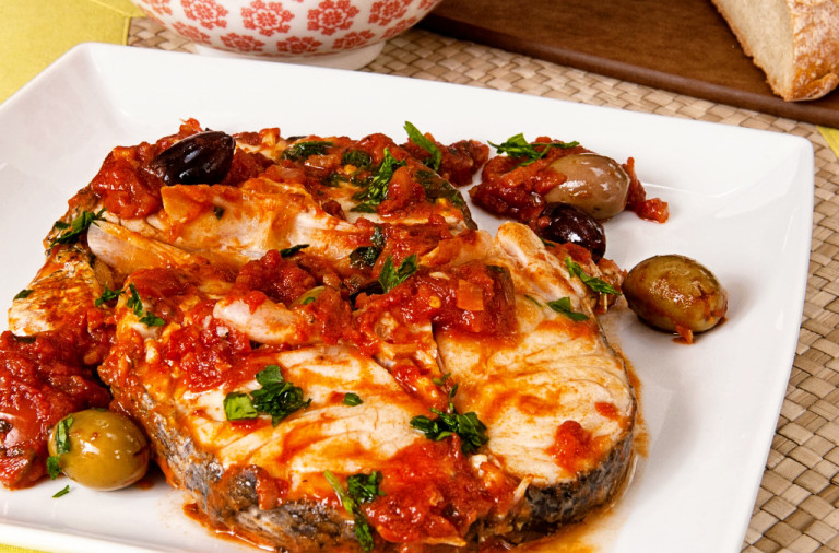 Hake with olives